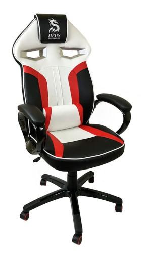 Fotel Obrotowy Gamingowy Dragon Black Red White Nowoczesne Meble Eu